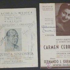 Libretos de ópera: LOTE DE 2 PANFLETOS DEL PALACIO DE LA MUSICA. 1942 BARCELONA. FIRMADOS AUTORES: SOFIA NOEL Y MUCHOS. Lote 24285904