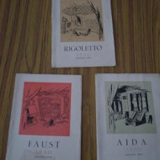 Libretos de ópera: 3 LIBROS - ABAO .. ASOCIACIÓN BILBAÍNA DE AMIGOS DE LA OPERA 1954 .. RIGOLETO – AIDA - FAUST. Lote 22146173