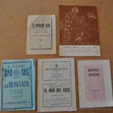 Libretos de ópera: LOTE DE 5 PROGRAMAS MUSICALES DEL LICEO. LICEU. BARCELONA. TODOS DISTINTOS. VARIEDAD.. Lote 22302956