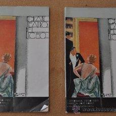 Libretos de ópera: LOTE DE 2 PROGRAMAS MUSICALES DEL LICEO. LICEU. BARCELONA. TODOS DISTINTOS. 1930-31. Lote 22303194