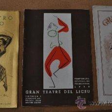 Libretos de ópera: LOTE DE 3 PROGRAMAS MUSICALES DEL LICEO. LICEU. BARCELONA. TODOS DISTINTOS. 1935 1936. GUERRA CIVIL. Lote 22303625
