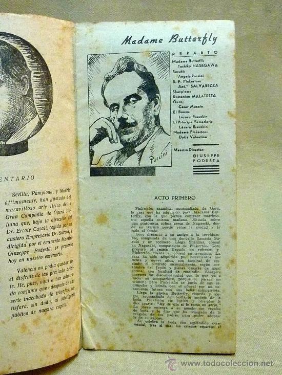 Libretos de ópera: PROGRAMA, TEATRO PRINCIPAL, VALENCIA, TEMPORADA OFICIAL DE OPERA ITALIANA, 1941 - Foto 3 - 24572619