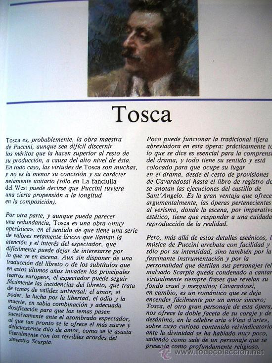 Libretos de ópera: TOSCA - PUCCINI. OPERA FAMOSAS. HISTORIA, CONTENIDO MUSICAL, SINOPSIS Y LIBRETO. - Foto 2 - 29141645
