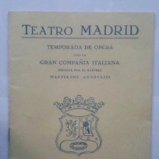 Libretos de ópera: LIBRETO DE MANO ,- TEATRO MADRID ,- TEMPORADA DE OPERA , 1955. Lote 29377680