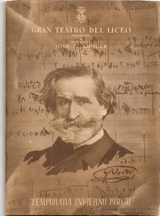 PROGRAMA GRAN TEATRO DEL LICEO. TEMPORADA 1950-51. NABUCCO / G.VERDI. 19X13CM. 36 P. (Música - Libretos de Opera)