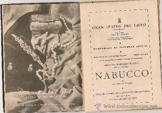 Libretos de ópera: Programa Gran Teatro del Liceo. Temporada 1950-51. Nabucco / G.Verdi. 19x13cm. 36 p. - Foto 3 - 29828710
