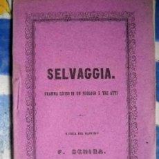 Livrets d'opéra: SELVAGGIA - F. SCHIRA - GRAN TEATRO DEL LICEO 1877. Lote 29912039
