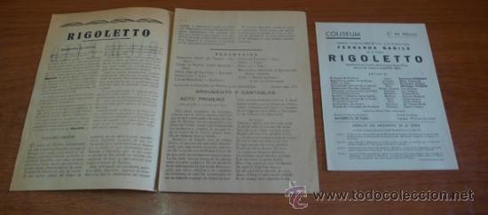 Libretos de ópera: GUÍA DEL ESPECTADOR, n.º 5. RIGOLETTO. VERDI, GIUSEPPE. CON UN FOLLETO DEL TEATRO COLISEUM. - Foto 2 - 32497620