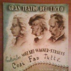 Libretos de ópera: 1941 - 1942 TRES PROGRAMAS DEL LICEO DE BARCELONA. Lote 35558457