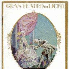 Libretos de ópera: GRAN TEATRO LICEO DE BARCELONA=OPERA GUILLERMO TELL=TEMPORADA 1925-1926. Lote 36729372