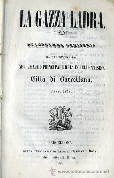 LA GAZZA LADRA (1848) ITALIANO (Música - Libretos de Opera)