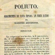 Livrets d'opéra: DONIZETTI : POLIUTO (1868) . Lote 37868015