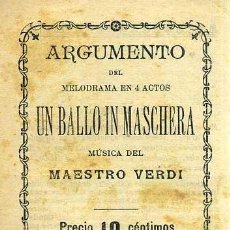 Libretos de ópera: VERDI : UN BALLO IN MASCHERA (S/F). Lote 37868038