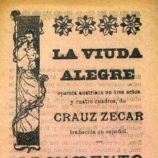 Libretos de ópera: CRAUZ ZECAR : LA VIUDA ALEGRE (S/F) . Lote 37868360