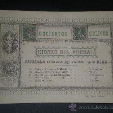 Libretos de ópera: 1881 PROGRAMA OPERA CONCIERTO DE MUSICA EN BILBAO. Lote 39229719
