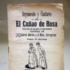 Libretos de ópera: REVISTA, ARGUMENTO, ZARZUELA, EL CUÑADO DE ROSA, CRESPI, VALENCIA, 1900. Lote 40777056