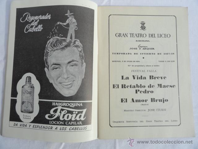 Libretos de ópera: PROGRAMA TEMPORADA INVIERNO 1957 -1958 GRAN TEATRO DEL LICEO. - Foto 2 - 41632423