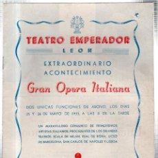 Libretos de ópera: TEATRO EMPERADOR . LEON. LUCIA DE LAMMERMOOR. EL BARBERO DE SEVILLA. 1953. LEER. Lote 42220804