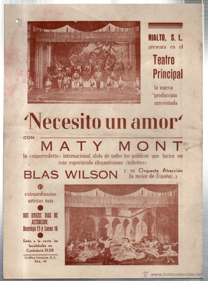 Libretos de ópera: TEATRO PRINCIPAL. LEON. NECESITO UN AMOR. MATY MONT. BLAS WILSON. 1953. LEER - Foto 2 - 42233227