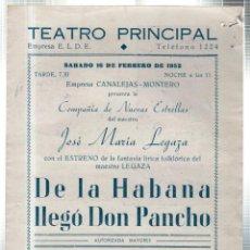 Libretos de ópera: TEATRO PRINCIPAL. LEON. COMPAÑIA DE NUEVAS ESTRELLAS DEL MAESTRO JOSE MARIA LEGAZA. 1952. LEER. Lote 181324803