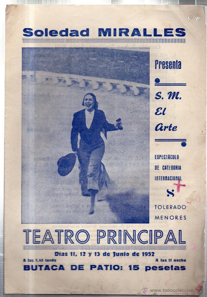 TEATRO PRNCIPAL. LEON. SOLEDAD MIRALLES PRESENTA S. M. EL ARTE. MAGDA CASTILLA. PILAR ALBER.... (Música - Libretos de Opera)