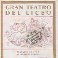 GRAN TEATRO DEL LICEO TEMPORADA 1927-1928 - PROGRAMA