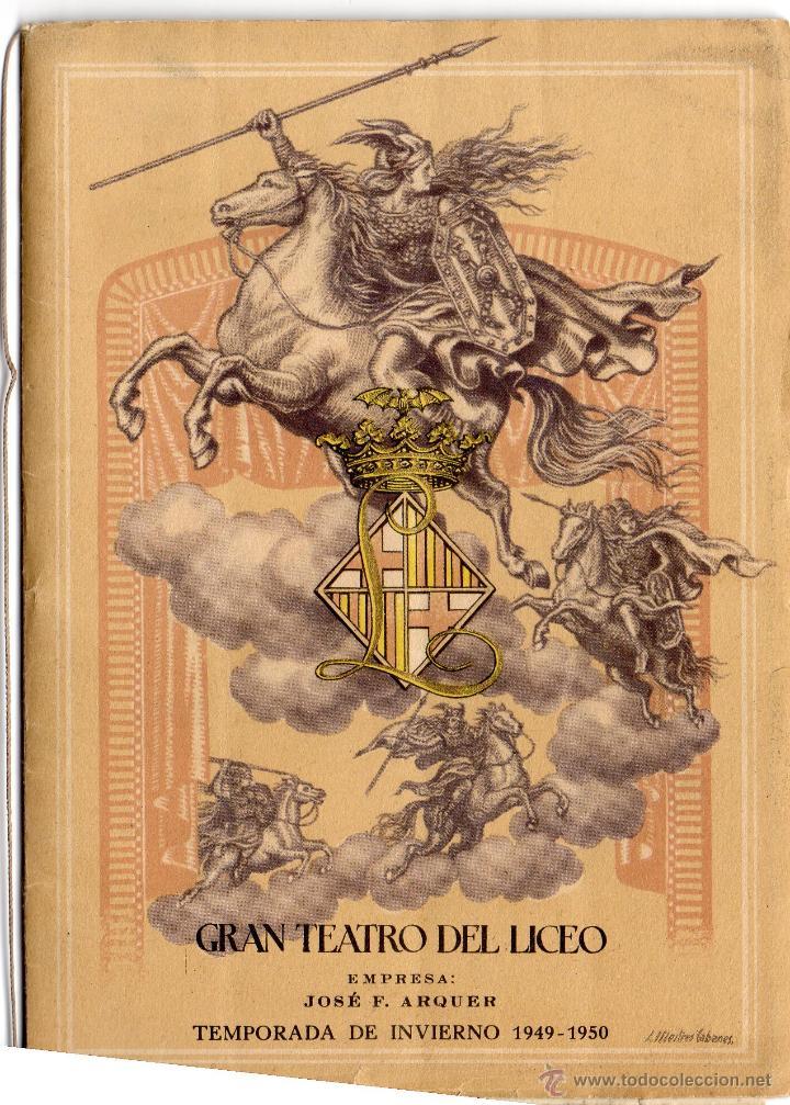 PROGRAMA DE MANO DE LA OPERA TANNHAUSER, LICEO DE BARCELONA, TEMPORADA 1949-50 (Música - Libretos de Opera)