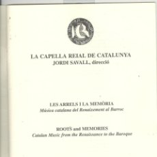 Libretos de ópera: CAPELLA REIAL DE CATALUNYA. JORDI SAVALL. LLIBRET CONCERT CATEDRAL BARCELONA 1999. Lote 45152432