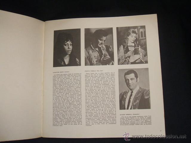 Libretos de ópera: LIBRETO DE LA OPERA CARMEN - FIRMADO POR MIRELLA FRENI - 1969 - Foto 5 - 46169294