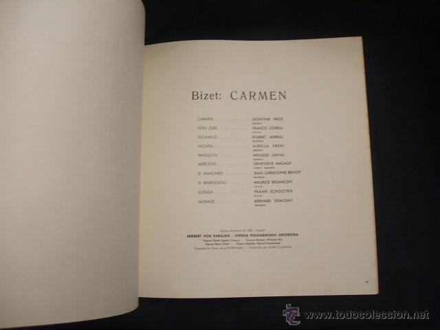 Libretos de ópera: LIBRETO DE LA OPERA CARMEN - FIRMADO POR MIRELLA FRENI - 1969 - Foto 8 - 46169294