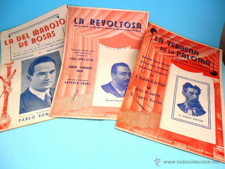 3 LIBRETOS ZARZUELA: MANOJO ROSAS, REVOLTOSA Y VERBENA PALOMA. ANTIGUOS #PV-R (Música - Libretos de Opera)