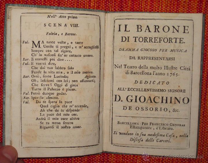 Libretos de ópera: Nicolò Piccini. Il barone di Torreforte. Barcelona. 1765 - Foto 2 - 49083800