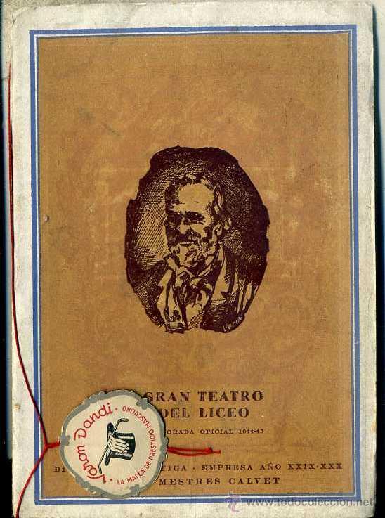 GRAN TEATRO DEL LICEO 19 DICIEMBRE 1944 : AIDA (Música - Libretos de Opera)