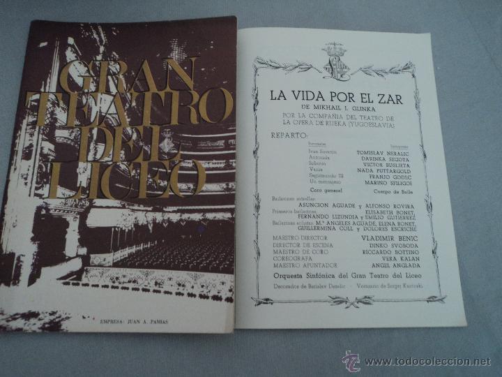 PROGRAMA DEL GRAN TEATRO DEL LICEO .- 1968 - 1969 OPERA LA VIDA POR EL ZAR (Música - Libretos de Opera)