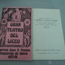 Libretos de ópera: PROGRAMA DEL GRAN TEATRO DEL LICEO .- 1975- 1976 OPERA IL CAPPELLO DI PAGLIA DI FIRENZE. Lote 52759157