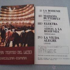 Libretos de ópera: PROGRAMA DEL GRAN TEATRO DEL LICEO .- 19T9- 1980 TEMPORADA DE OPERA JAUME ARAGALL. Lote 52759585
