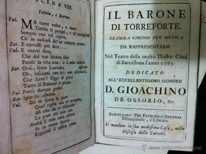 Libretos de ópera: Nicolò Piccini. Il barone di Torreforte. Barcelona. 1765 - Foto 5 - 49083800