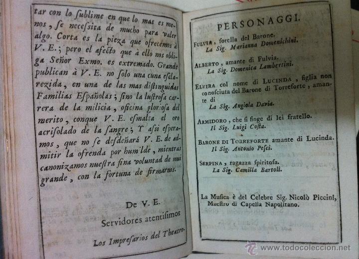 Libretos de ópera: Nicolò Piccini. Il barone di Torreforte. Barcelona. 1765 - Foto 7 - 49083800