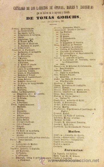Libretos de ópera: Bellini : La sonámbula. (Madrid, 1871. Ópera estrenada en el Teatro Real) Ed. Tomas Gorchs. - Foto 2 - 55048232