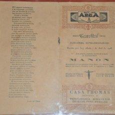 Libretos de ópera: PROGRAMA DEL TEATRO REAL DE 1923 , CON BASTANTES PÁGINAS Y PUBLICIDAD DE LA ÉPOCA . Lote 55331952