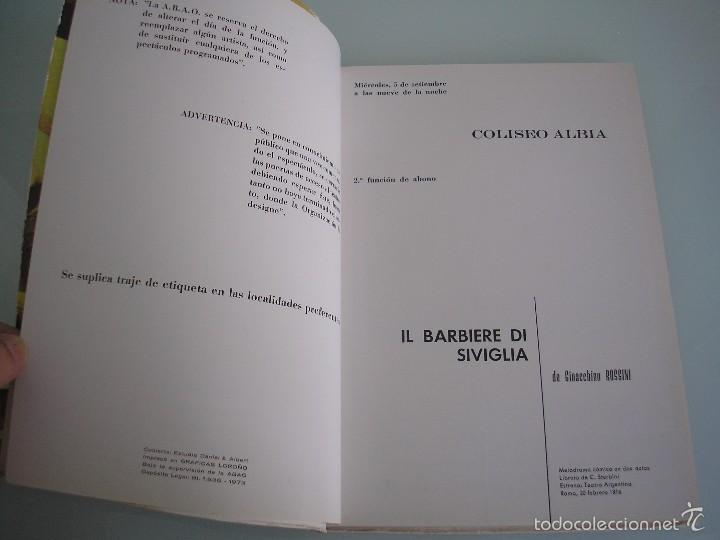 Libretos de ópera: Il Barbiere di Siviglia - Gioacchino Rossini - XXII Festival de Ópera - A. B. A. O - Bilbao 1973 - Foto 4 - 56188996