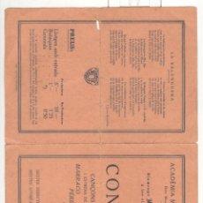 Libretos de ópera: ACADEMIA MUSICAL MARIANA DE MATARÓ. PROGRAMA DE NADAL DE 1927. Lote 56250123