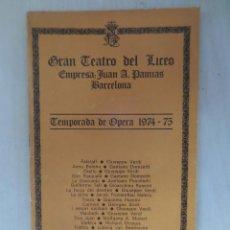 Libretos de ópera: OPERA EN EL LICEO. Lote 57541327
