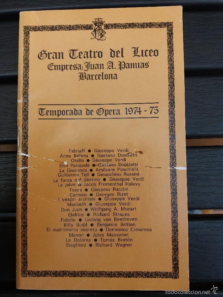 LIBRETO LICEO BARCELONA, 1975,'' CARMEN '', ÓPERA DE BIZET. CON PEDRO LAVIRGEN (Música - Libretos de Opera)