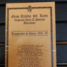 Libretos de ópera: LIBRETO LICEO BARCELONA, 1975,'' CARMEN '', ÓPERA DE BIZET. CON PEDRO LAVIRGEN. Lote 57810443
