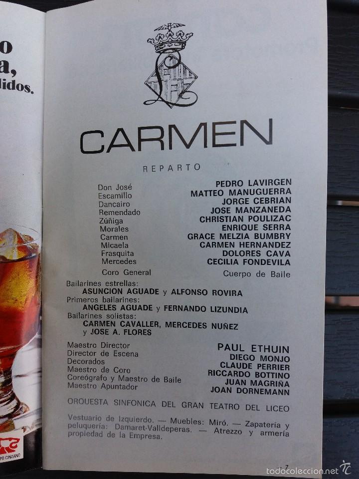 Libretos de ópera: LIBRETO LICEO BARCELONA, 1975,'' CARMEN '', ÓPERA DE BIZET. CON PEDRO LAVIRGEN - Foto 2 - 57810443