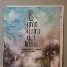 Libretos de ópera: LICEO PROGRAMA TEMPORADA DE INVIERNO 1962-63 Y MONOGRAFICO CLAUDE DEBUSSY. Lote 58159427