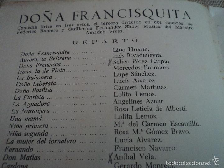 Libretos de ópera: programa teatro de la zarzuela de madrid 1956 lina huarte alfredo kraus - Foto 2 - 75494325