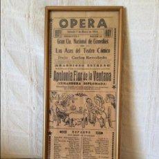 Libretos de ópera: CARTEL DE ÓPERA 1943. APOLOGÍA FLOR DE LA VENTANA. Lote 61732700