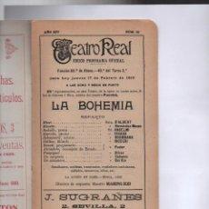LA BOHEMIA. TEATRO REAL. PROGRAMA. 17 DE FEBRERO DE 1910.